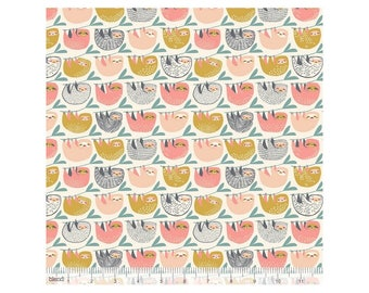 Lazy printed cotton pink and mustard by Blend Fabrics .x1m