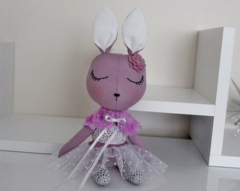 BUNNY FABRIC DOLL - Petite - Purple - Simple and Chic Ballerina Theme - Heirloom Cloth Doll - Limited