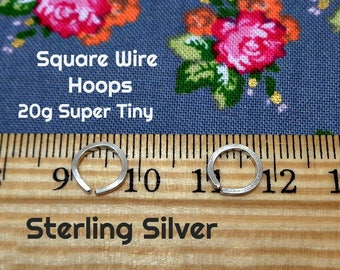 Sterling Silver Square Wire Super Tiny Endless Hoops
