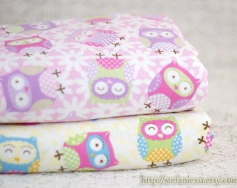 Owl Hoot Collection, Lovely Owls On Daisy Floral - US Cotton Fabric(1/2 Yard)