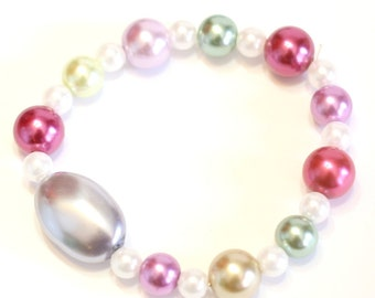 pink, White, and Blue faux pearl bracelet - Womens Stretch Bracelet perfect for stacking and layering