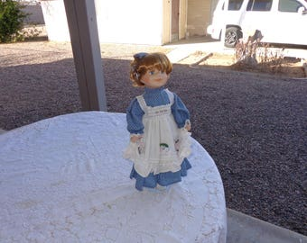 """VINTAGE  Porcelain Doll  Sweet Happy  Doll Redhead Smiling Girl in blue dotted dress 16"""" tall  -Great Condition"""