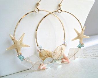 Real Starfish Hoops, Large Sea Glass Hoop Earrings, Hawaiian Shell  Hoops