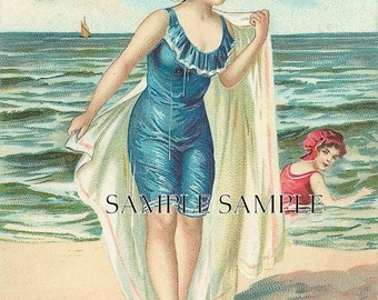 FAbRIC blocks, bath,sea,beach house, bathing beauty in blue,vintage postcard image,one 8x10, Use like any fabric you sew with
