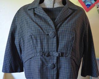 1960s Henry Lee Dress | Vintage Black Dress | Dress and Jacket Set | Size Medium