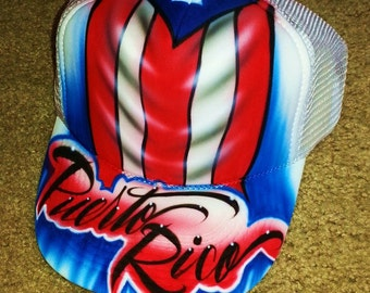 Airbrush Trucker Hat With Puerto Rican Flag, Puerto Rico Hat, Puerto Rican Pride Hat, Puerto Rico Pride Hat, Airbrush Puerto Rico Flag, Hat