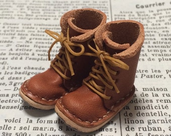 Real Armor: Miniature lace-up boots [ORANGE BROWN] (for Blythe)