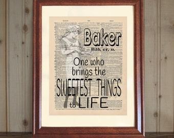 Baker Dictionary Print, Baker Quote, Baker Gift, Baker Wall Art, Bakery Owner Gift, Kitchen Decor, Bakery Print, Baker Print on canvas panel