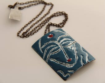 EN1046 - ENAMEL COPPER PENDANT, Enamel Pendant, Sgraffito Design, Copper, Vintaj Chain, Mother's Day Gift, Anniversary