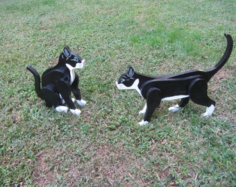 Handmade custom painted set of two Tuxedo cats for your yard