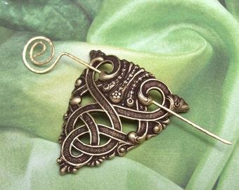 Celtic Shawl Pin, Celtic Scarf Pin, Celtic Hair slide, gold shawl pin, sweater pin, hammered, fall fashion, brass