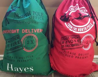 Personalized Reindeer Express, Santa sack, canvas, gift bag, Christmas bag