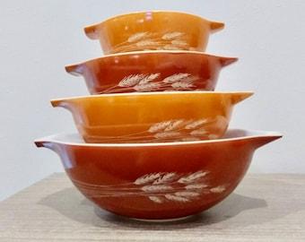 Vintage Pyrex Autumn Harvest Cinderella mixing bowls, nesting bowls, cinderella pyrex, wheat pyrex, complete set of 4