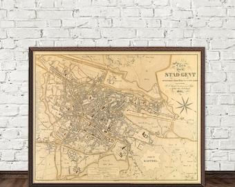 Old map of Ghent print - Ghent (Belgium) map -  La carte de Gand -  Fine reproduction