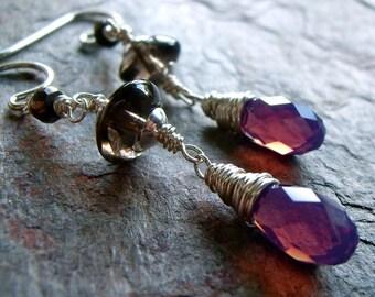 Swarovski Cyclamen Opal Smoky Quartz Pyrite and Sterling Silver Gemstone Earrings
