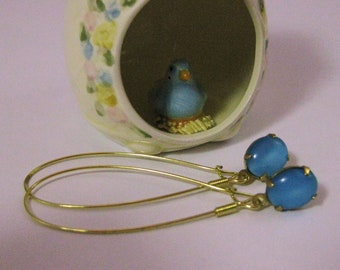 Aqua Blue Glass Earrings Raw Brass Aqua Earrings Aqua Blue Earrings Blue Glass Earrings Handmade Earrings Blue Earrings Dangle Earrings