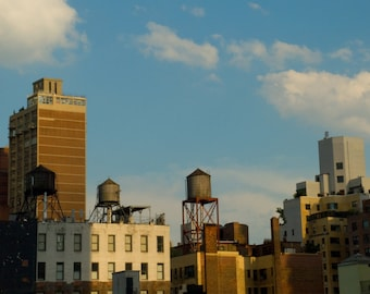 New York City Wall Art,Water Towers,Fine Art Photography, New York Skyline, NYC Print, New York City Art, Deborah Julian