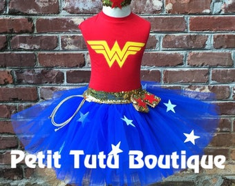 Wonder Woman Costume or Birthday Tutu set any size available 12m to 14/16y Super Hero
