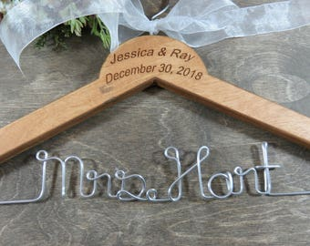 Engraved Wire Name Hanger Last Name Hangers Brides Coat Hangers Bridal Accessories Wedding Dress Hangers