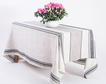 Linen tablecloth, Provence Natural tablecover, natural black stripes provance, French country rustic table cloth,