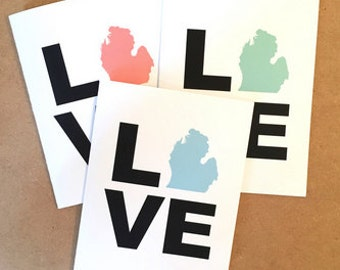 Michigan Card - Michigan State Love - Michigan Themed - Mitten Love - Made in Michigan - The Mitten - Michigan Made - Pure Michigan