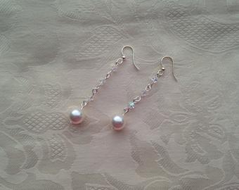 Earrings Swarovski AB Crystal White Pearl Dangle Earrings Sterling Silver Fish Hook