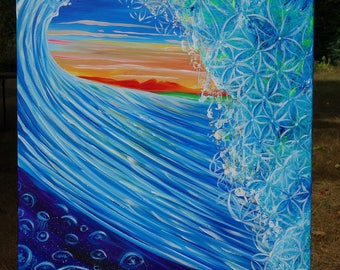 Jelly Fish . Flower of Life Wave. Prints.  painted live w/ Amber Lily & Tubby Love 2016
