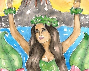 Goddess Art Hawaiian Goddess Pele Original Watercolor Painting Pagan Art Mythology Divine Sacred Feminine Fantasy Spiritual Art
