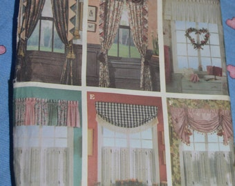Simplicity 8969 Jiffy 6 Pack Window Treatments  Sewing Pattern - UNCUT - Swag and Panels, Curtains , Valances