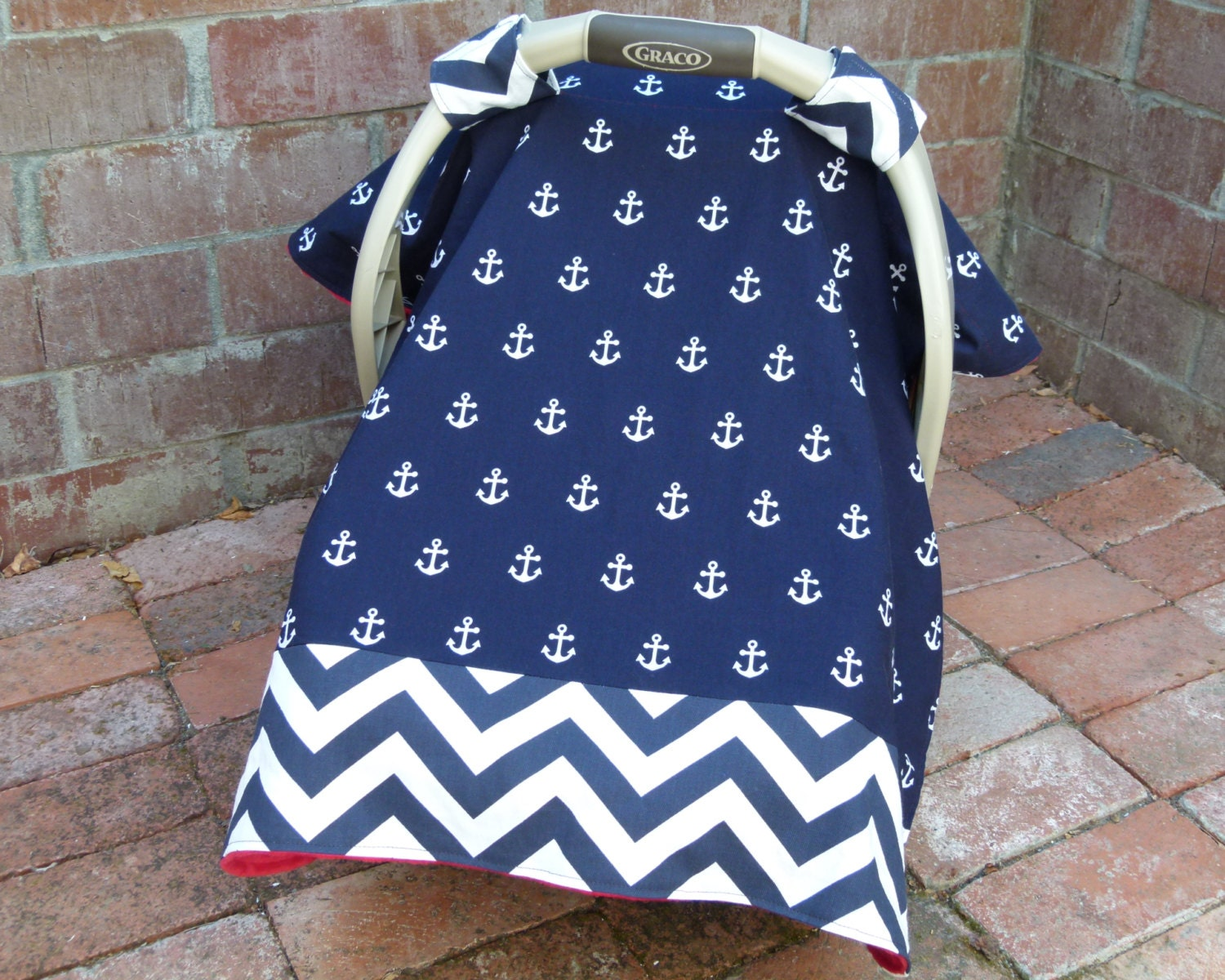 Anchors & Chevron Baby Car Seat Canopy Cover in Navy and