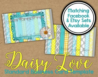 Daisy Business Card - 2 sided Aqua and Yellow Daisy Business Card - Standard Business Card Template - Daisy Flower Business Card