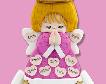 Pink Angel with 9 Hearts - Handmade Polymer Clay Personalized Christmas Ornament - Limited Edition