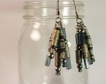 OOAK Recycled Newspaper Dangle Earrings