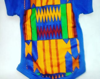 Blue Kente Baby Onesie