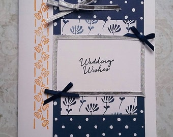 Wedding Card Wedding Wishes White Navy Silver Gold-6 X 4-1/2""