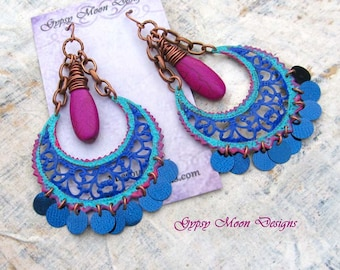 Boho earrings, Bold earrings, Bohemian jewelry chandelier earrings colorful Gypsy earrings,