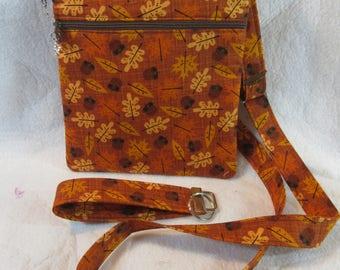 Fall Leaves Theme Crossbody Handbag w/adj strap
