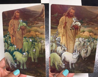 Jesus And His Fat-Ass Unicorns And Handsome Stegosauruses 4 x 6 Hologram