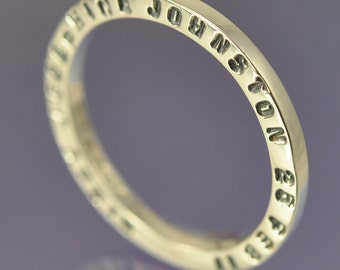 Lateral - Stackable Sterling Silver Stamped Ring. Custom with your own message.