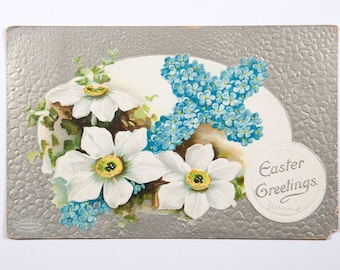 FREE SHIPPING: Antique Vintage Easter Postcard - Ohio, Mailed April 6, 1911, Embossed Floral on Silver Easter Greetings