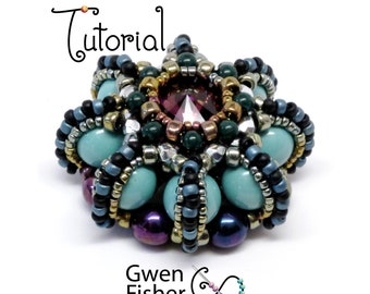 TUTORIAL Rivoli Urchin Necklace and Pendants beaded with herringbone weave