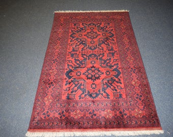Beautiful hand knotted Afghan Turkoman rug 100% wool
