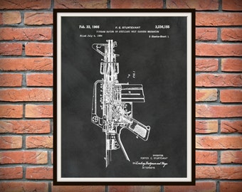 1966 M-16 Rifle Patent AR15 Invented by Sturtevant - Art Print - Poster -  Fire Arm - Military Weapon - Sniper Rifle - Wall Art - Gun
