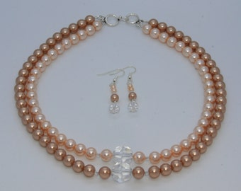 Artisan Created 2-Strand Swarovski Crystal Pearl Necklace and Earrings Set, Peach and Rose Gold