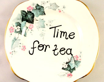 Time for Tea Vintage Upcycled Retro Side Plate Ornamental Porcelain Dish Ring Holder Display Pink and Green Ivy Floral Bone China English