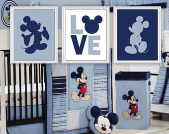 INSTANT DOWNLOAD Mickey Mouse Silhouette, Love, Disney Wall Art, Mickey Mouse Baby Boy Room Playroom Decor Art Set of 3, 8x10