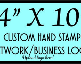 Custom rubber stamp, hand stamp 4 X 10. Large traditional personilized stamp for branding, marketing your business logo with a rubber stamp.