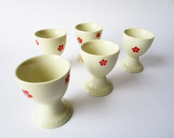 Set of 5 egg cups with retro flower pattern, cream white egg cups German vintage