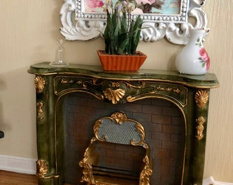 Miniature Fireplace, Green and Gold Fireplace by Ruetter, Dollhouse Miniature, 1:12 Scale, Dollhouse Miniature, Made in Germany