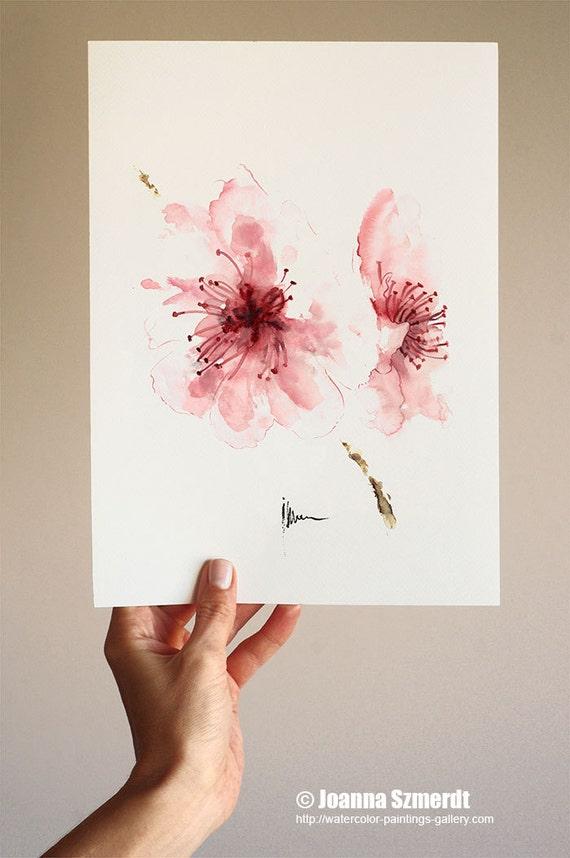 Cherry Blossom Watercolor Art Print Wall Buy